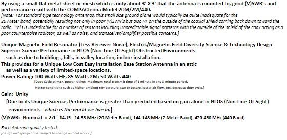 COMPACtenna Data Sheet 20M-2M-440 BOTTOM