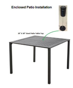 COMPACtenna Installation - Enclosed Patio - 20 in. antenna on Patio Table
