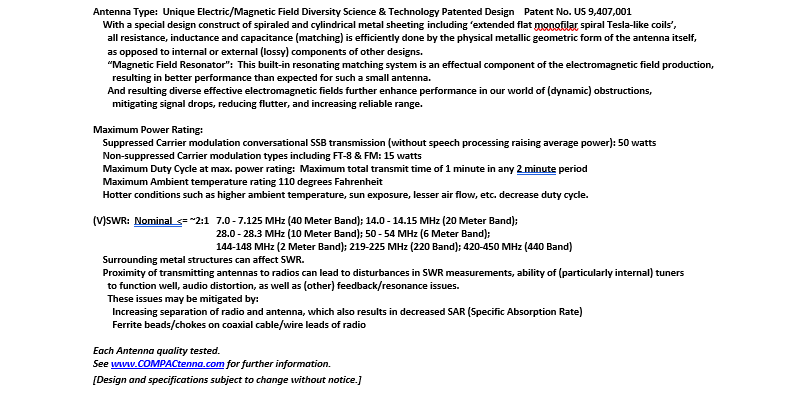 COMPACtenna Data Sheet HamR-7Digi 7.4.20 BOTTOM Half