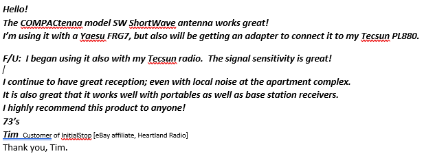 COMPACtenna REVIEW SW customer InitialStop, Heartland Radio AMENDED