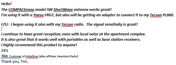 COMPACtenna REVIEW SW customer InitialStop, Heartland Radio AMENDED