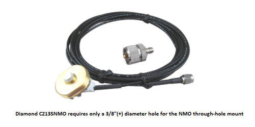 COMPACtenna Installation - Adjustable Mount - NMO Antenna Hole Mount with Cable - Diamond C213SNMO - Requires ONLY .375in. HOLE