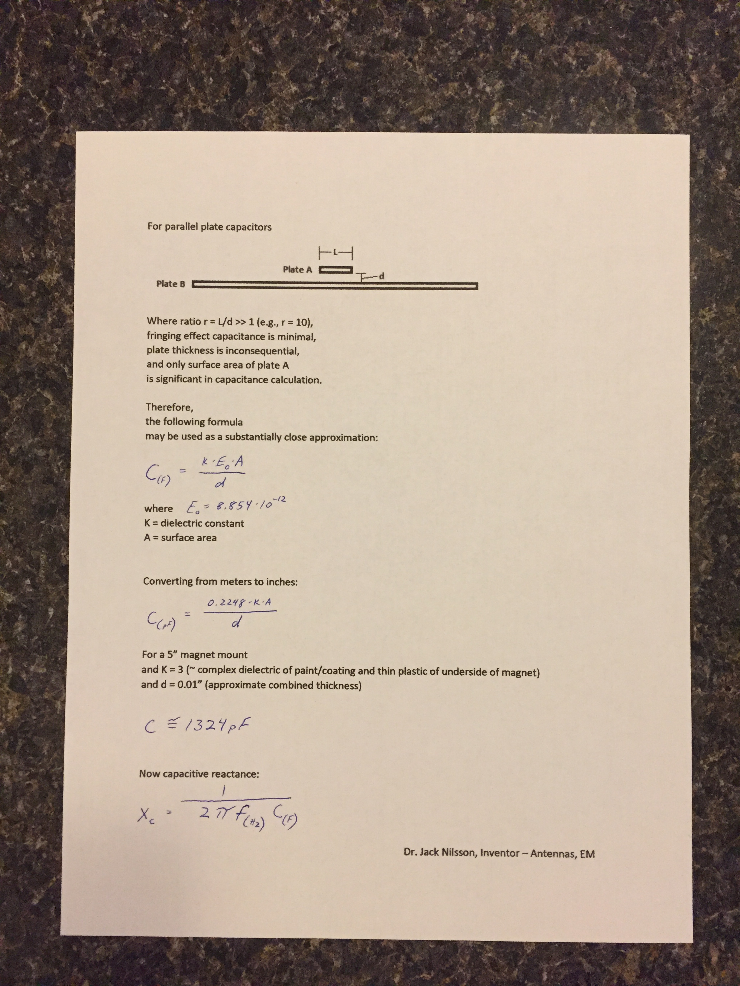 COMPACtenna Installation - Formulas for Magnet Mount Capacitive Coupling PAGE 1 of 2