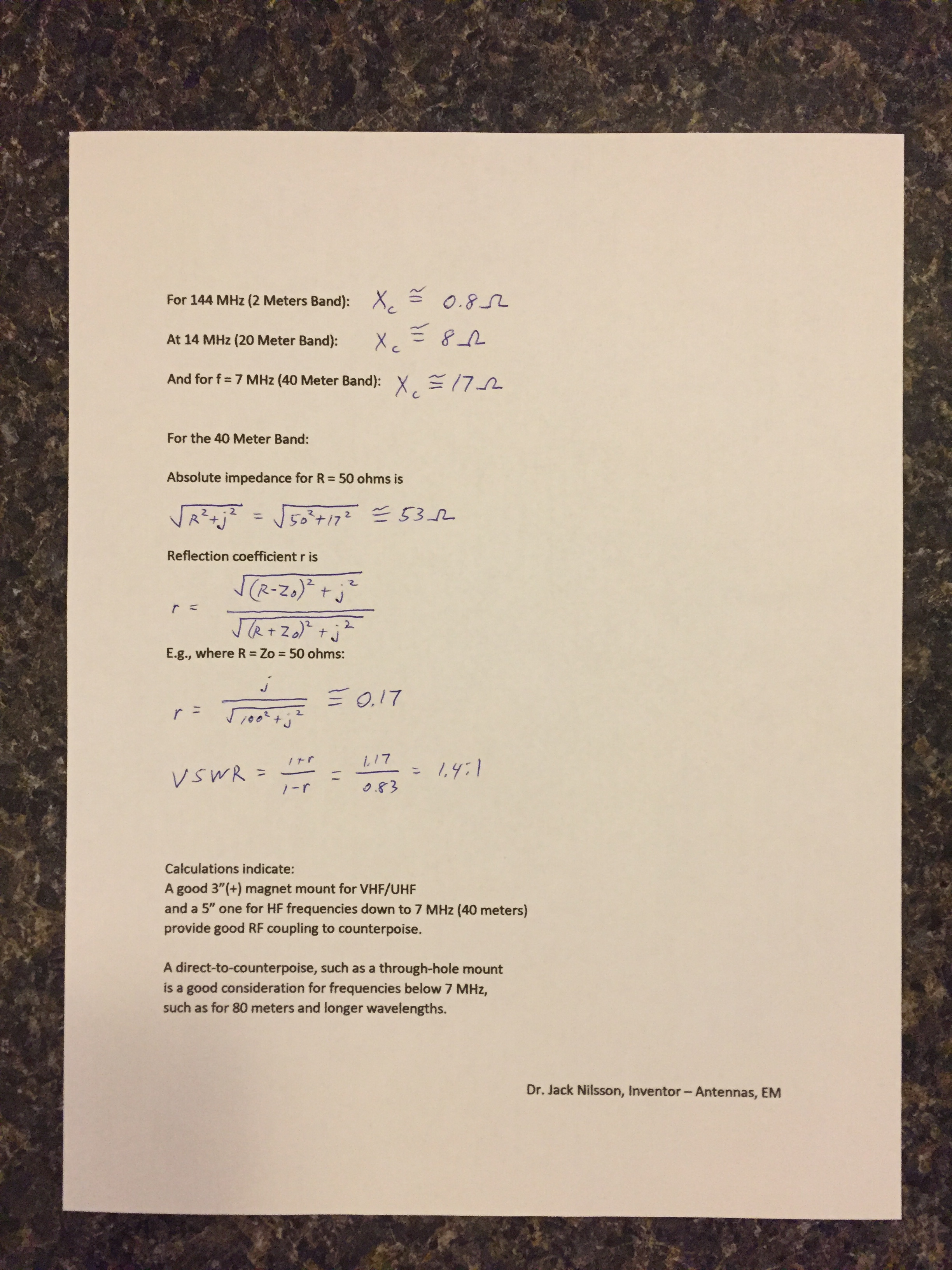 COMPACtenna Installation - Formulas for Magnet Mount Capacitive Coupling PAGE 2 of 2