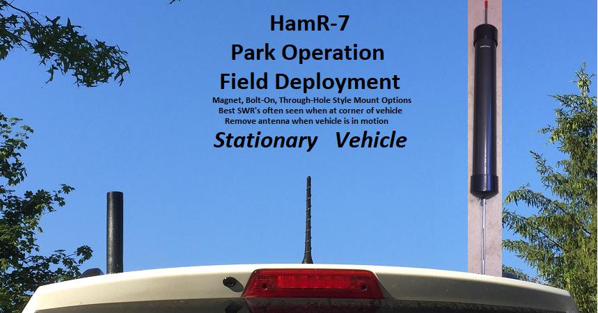 COMPACtenna Installation HamR-7 On Stationary Vehicle - Park - Field Deployment