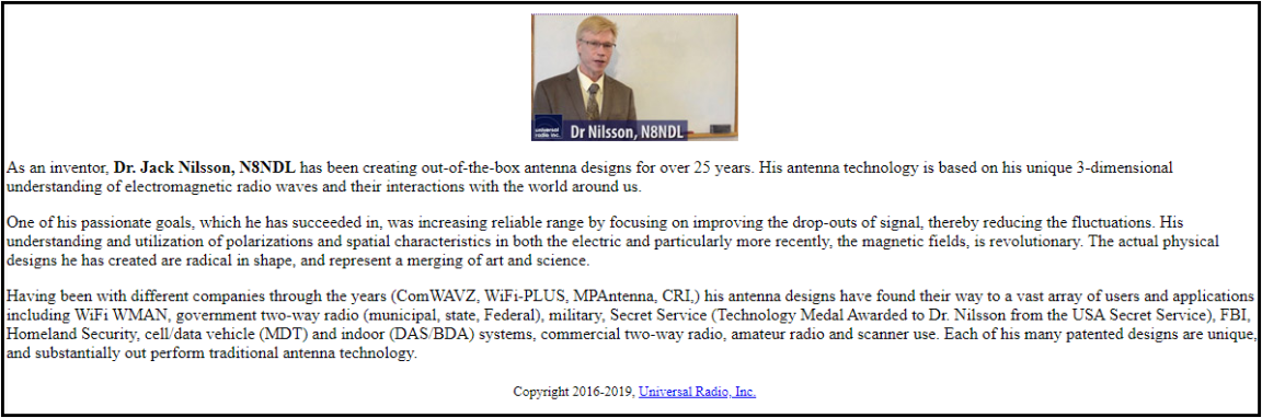 COMPACtenna Universal Radio Bio of Dr. Jack Nilsson