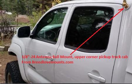 COMPACtenna Installation Ball Mount CB style Upper Corner Pickup Truck Cab PHOTO