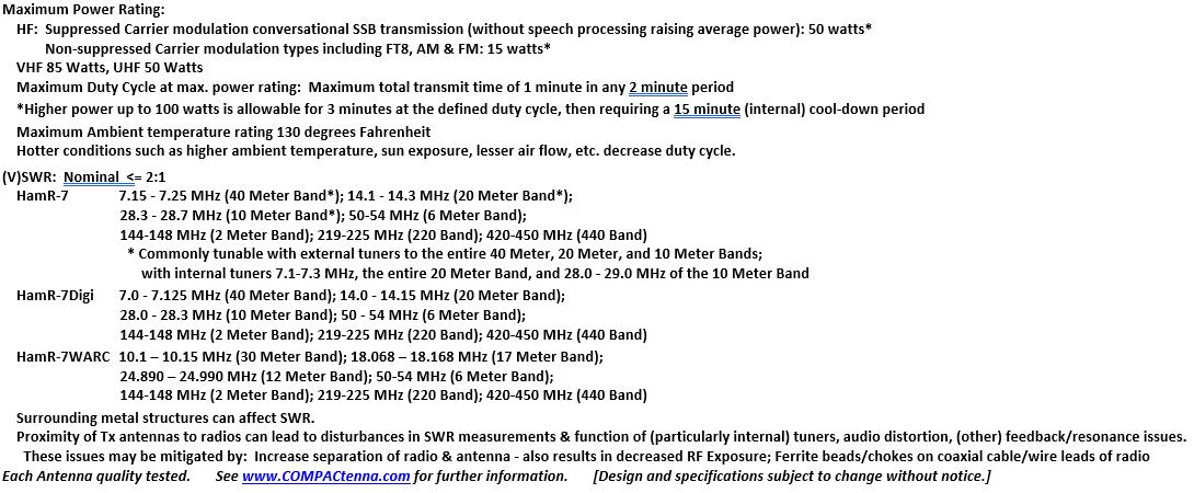 COMPACtenna Data Sheet HamR-7 SERIES 8.22.21 BOTTOM
