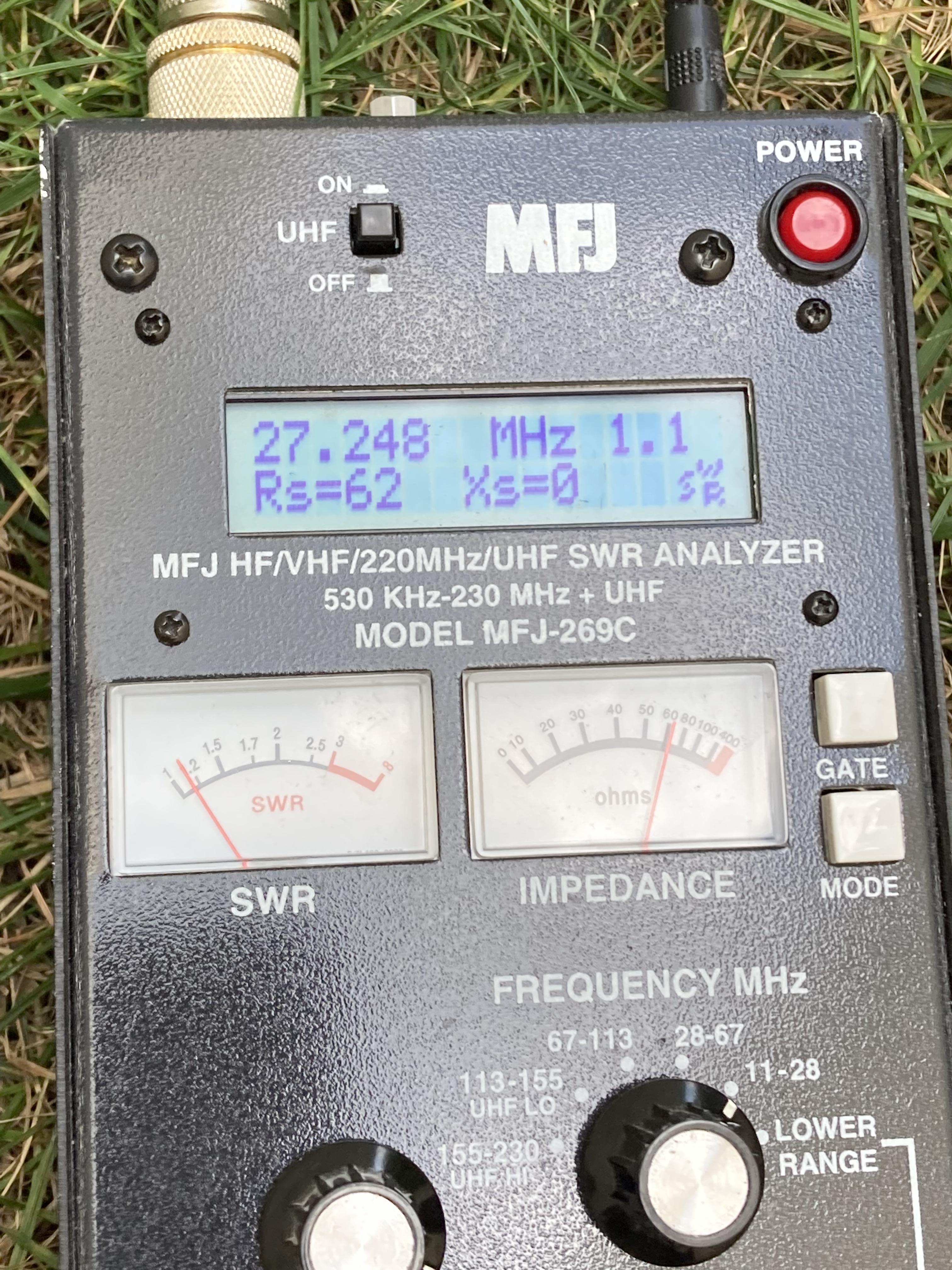 COMPACtenna Installation 20in Antenna Outside Photo MFJ SWR CB 9.15.21